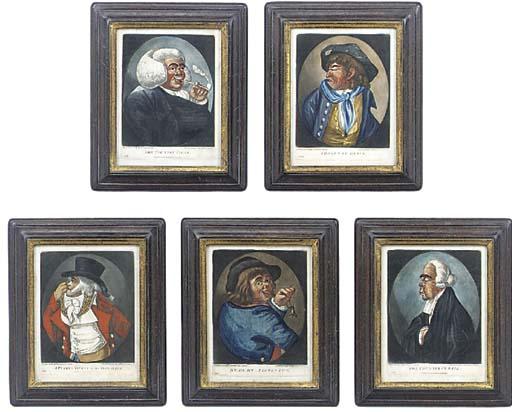 Five George III hand tinted pr