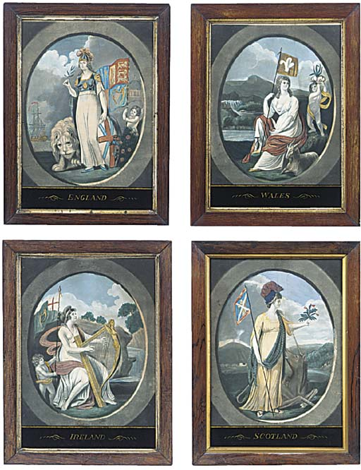 A set of four hand tinted prin