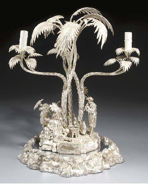 A Victorian silver three light
