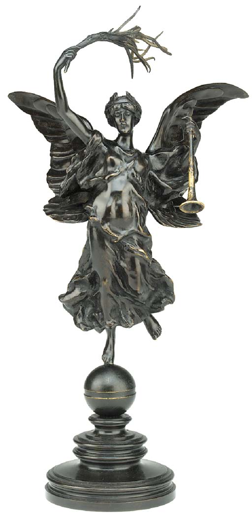 A bronze model of the Winged V