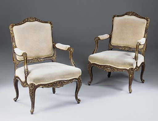 A PAIR OF DECORATED AND GILT H