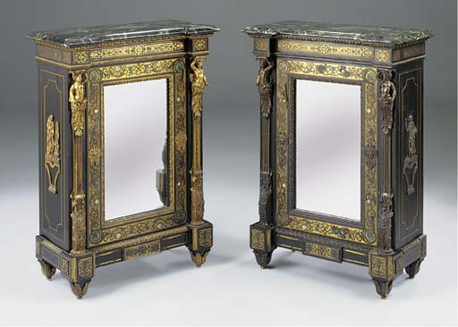A PAIR OF FRENCH EBONISED TORT