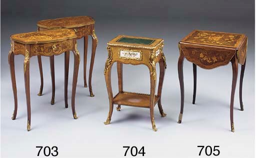 A FRENCH ROSEWOOD AND MARQUETR