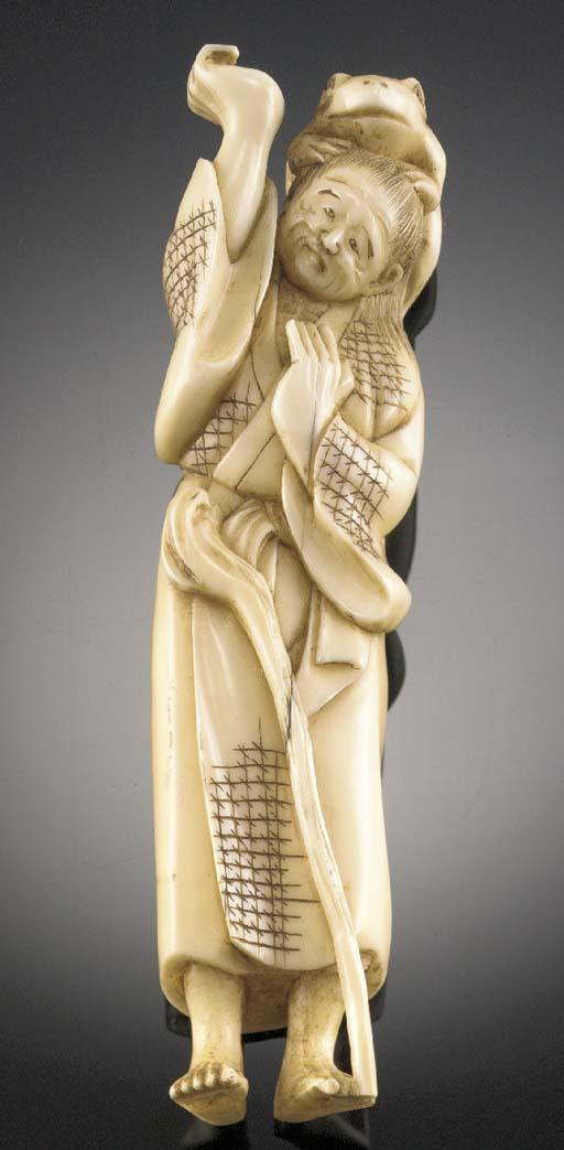 An ivory netsuke of Gama senni