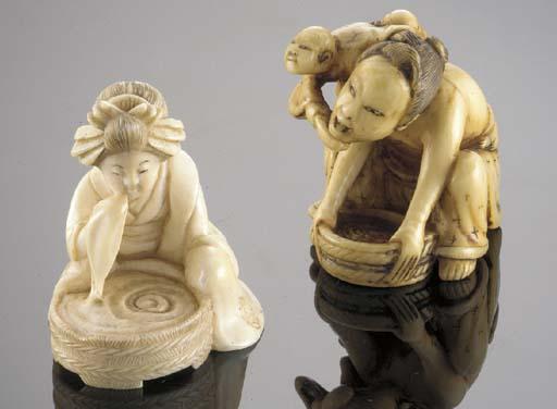 An erotic ivory netsuke of a s