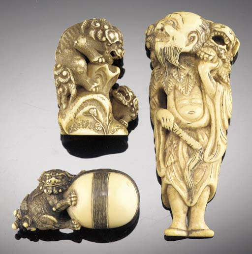 A marine-ivory netsuke of of C