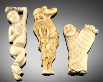 An ivory netsuke of a sennin 1
