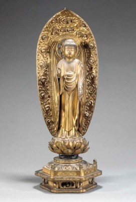 A gilt lacquer model of buddha