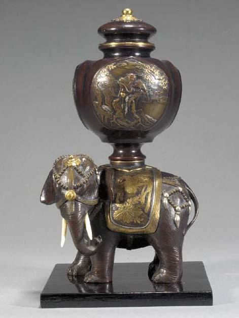 An inlaid bronze model of an e