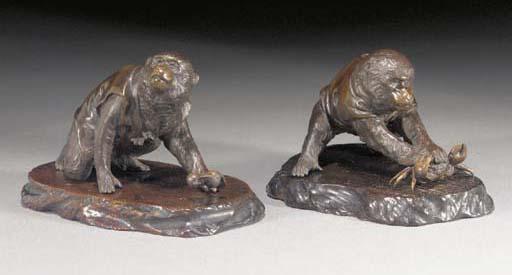 Two bronze models of monkeys M