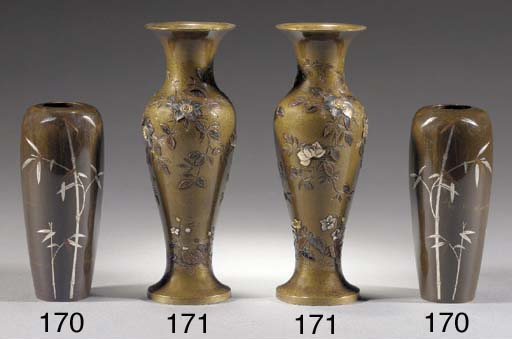 A small pair of bronze inlaid