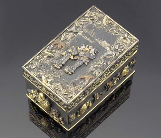 A small bronze rectagular box