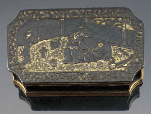A shunga gilt bronze rectangul