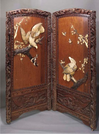 A large inlaid wood two-fold s
