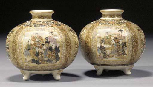 A pair of Satsuma globular jar