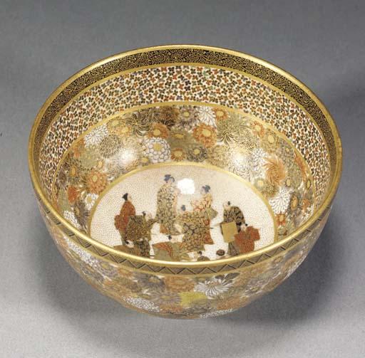 A Satsuma deep bowl Meiji Peri