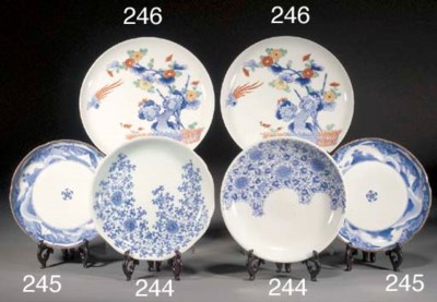 A Pair of Kakiemon blue and wh