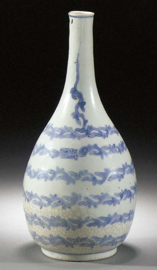 An Arita blue and white bottle
