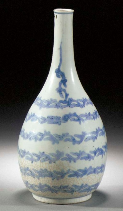 An Arita blue and white bottle