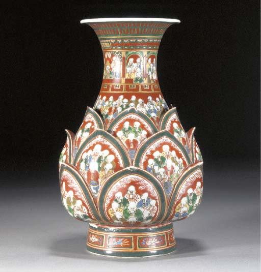 A Kutani moulded bottle vase Edo Period (early 19th Century)