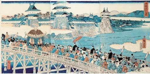 Hiroshige, an oban triptych