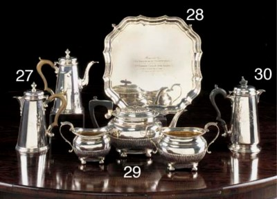 A GEORGE V SILVER HOT WATER PO