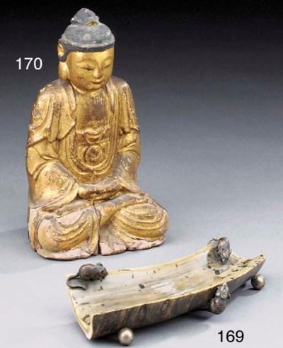 An Oriental horn pen tray