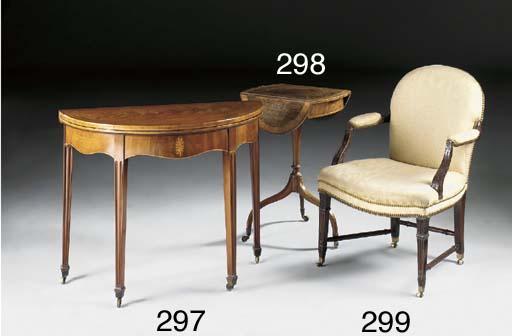 A rosewood, mahogany and satin