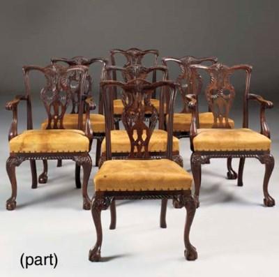 A set of fourteen mahogany din
