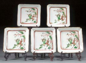 A set of five famille verte square dishes  Tianqi