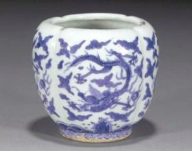 A blue and white quatrefoil ovoid jar  Wanli