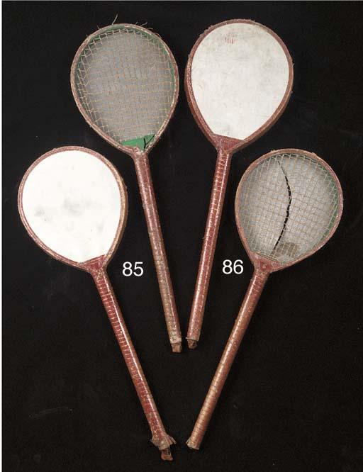 A pair of battledore rackets,