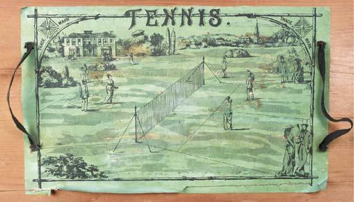 An early lawn tennis box, manu