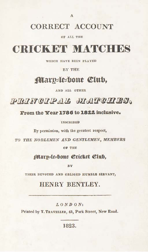 BENTLEY, Henry. A Correct Acco