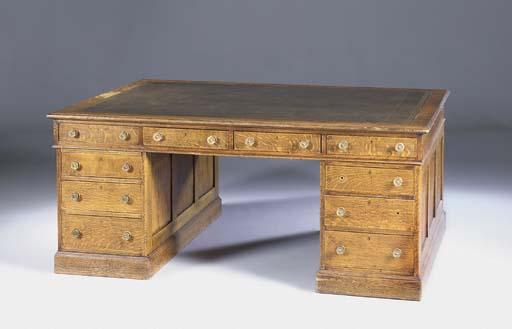 An oak partners desk, first ha