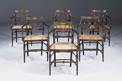 A set of six Regency ebonised