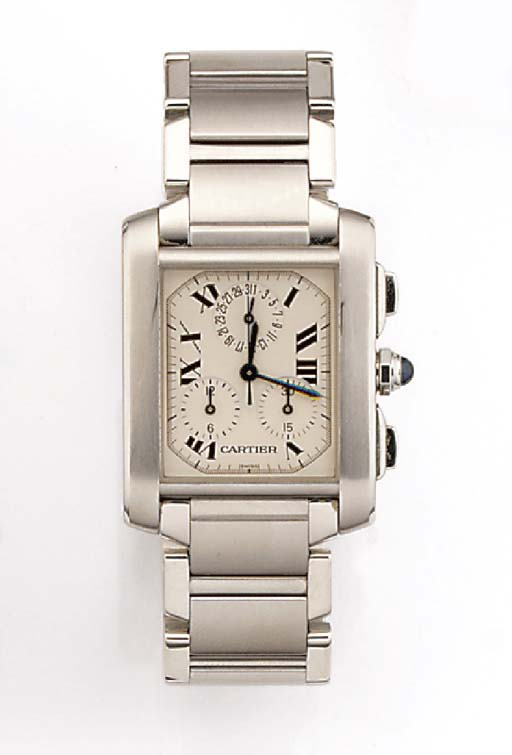 CARTIER, A STAINLESS STEEL QUA