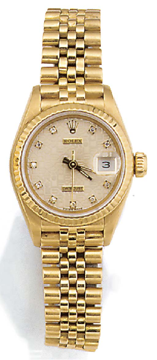 ROLEX, A LADY'S 18CT. GOLD AND