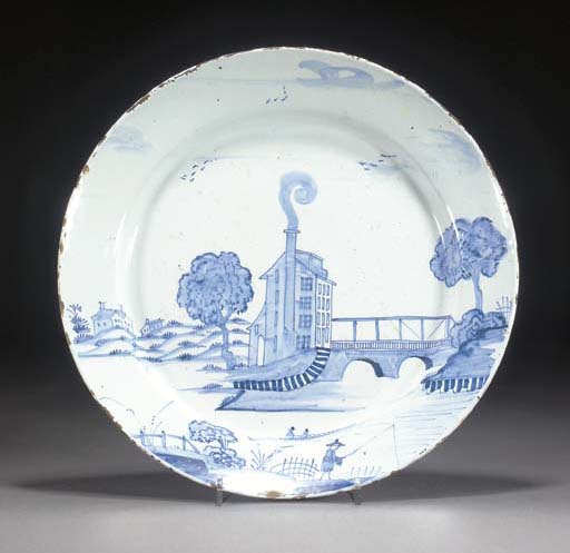 A delft blue and white dish