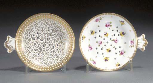 Two Worcester pierced egg drai