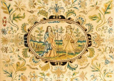 A needlework picture, the cent