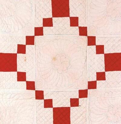 An Irish Chain quilt, pieced f
