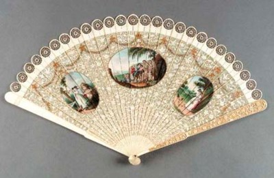 An ivory brise fan painted wit