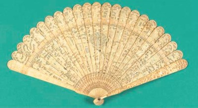 A Canton ivory brise fan with