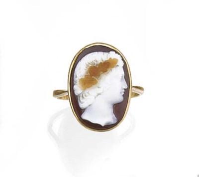 A hardstone cameo mounted as a