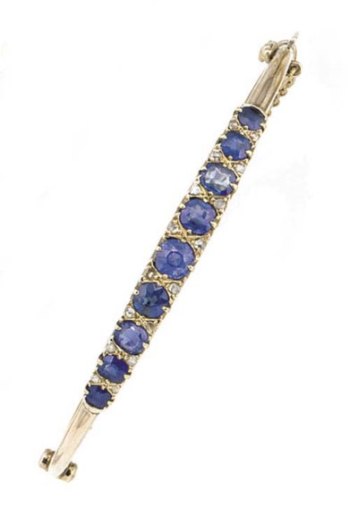 A sapphire and rose-cut diamon