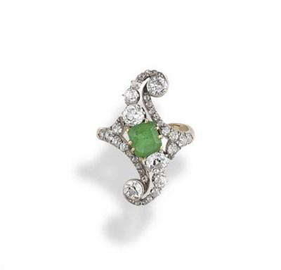 An Edwardian, emerald and diam