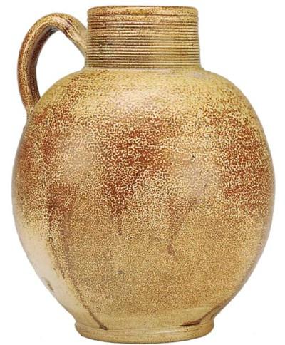 A salt glazed pottery jug, 19t