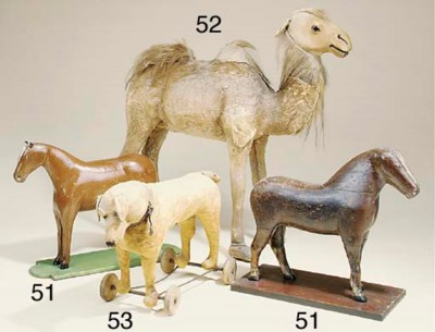 A Victorian wood toy camel
