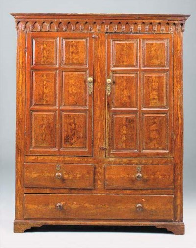 A PAINTED PINE PRESS CUPBOARD,